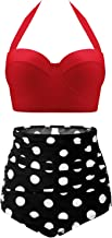 CHERRY CAT Womens Vintage Retro Polka High Waisted Underwire Bikini Two Piece Swimsuits