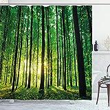 ABAKUHAUS Wald Duschvorhang, Grüner Wald Sonnenaufgang, Trendiger Druck Stoff mit 12 Ringen Farbfest Bakterie & Wasser Abweichent, 175 x 200 cm, Grün-Schwarz-Gelb