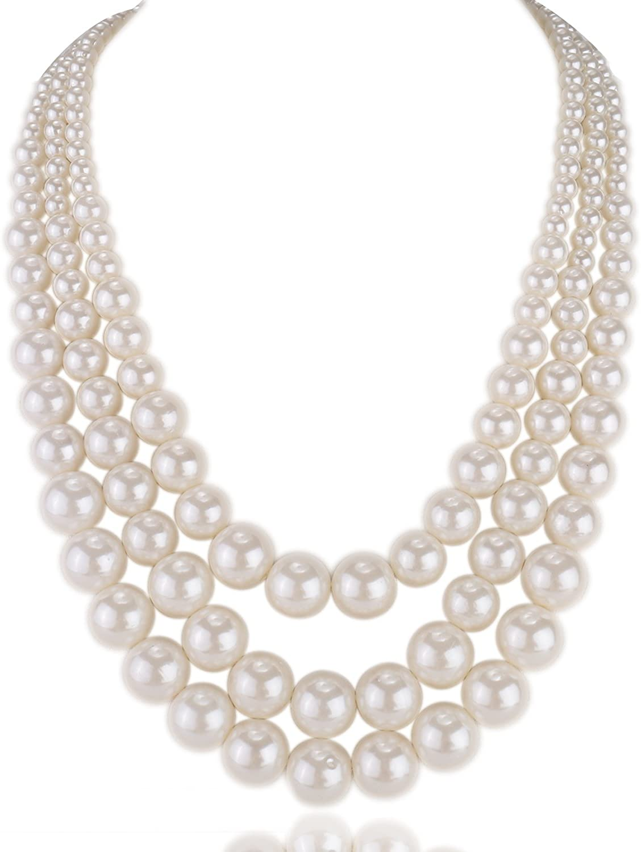 Kalse Multiple 3 4 5 Layer Simulated Pearl Strand Bib Pendant Long Necklace 17.3