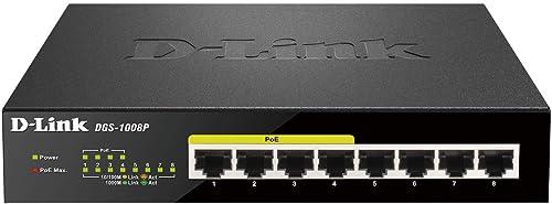 D-Link DGS-1008P Switch 8 Ports Gigabit POE 10/100/1000mbps - Idéal Partage de Connexion et Mise en Réseau Small/Home...