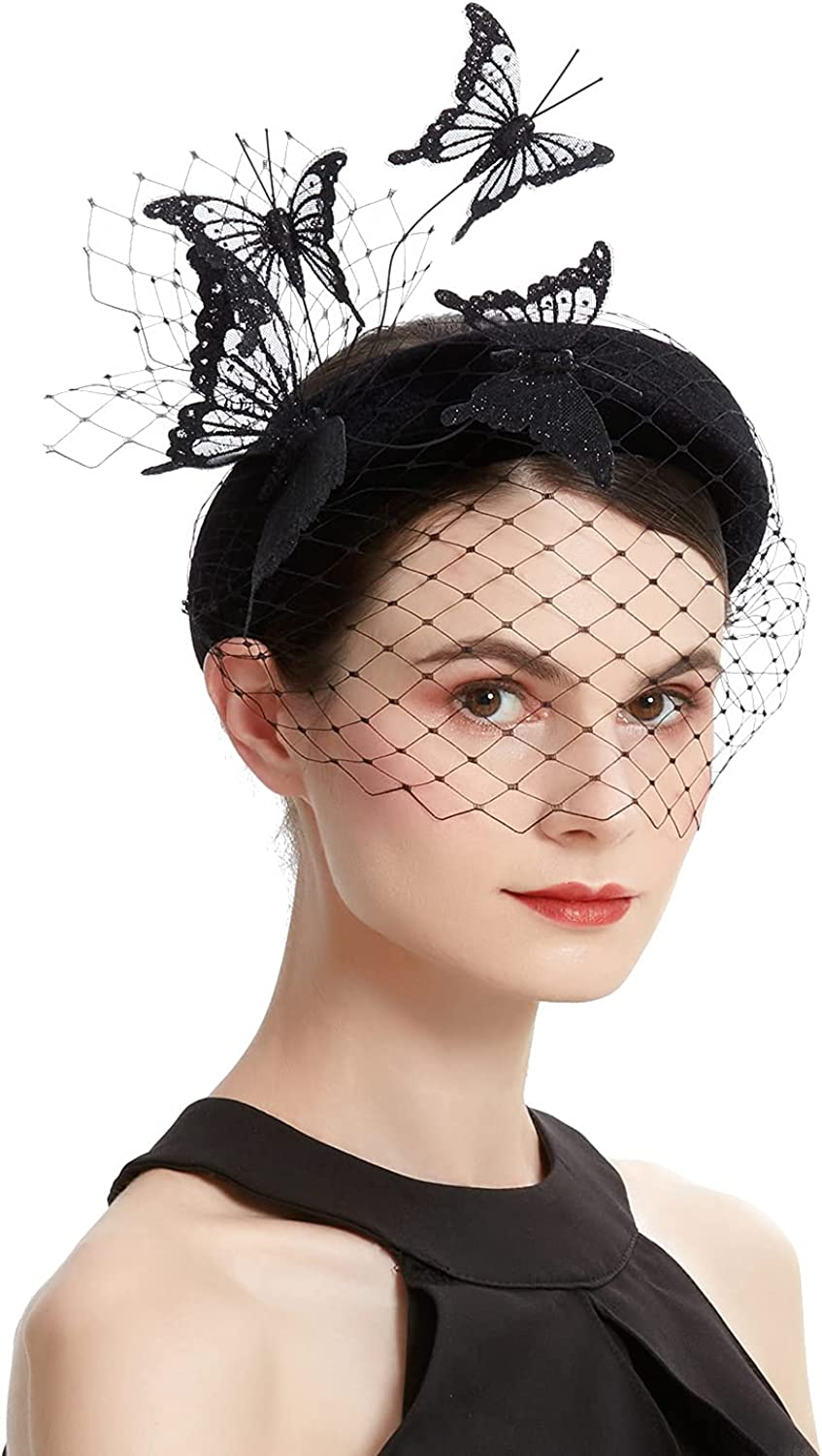 Coucoland Fascinators Hat Veil Headband Butterfly Fascinator Headpiece for Tea Party