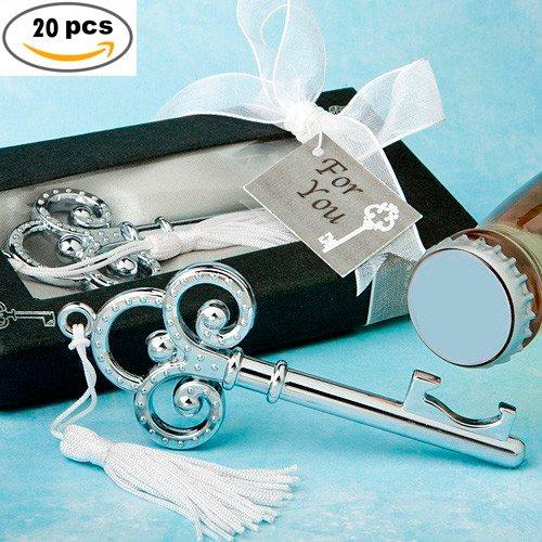 Set di 20chiavi Argento apribottiglie in scatola regalo–abridores apribottiglie Regali Matrimonio