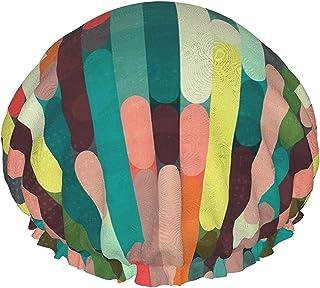 Kolorowa geometryczna retro wodoodporna czapka prysznicowa z elastycznym obszyciem dwustronna konstrukcja do prysznica cze...