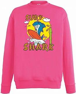 Sudadera unisex para niños y niñas con diseño de tabla de surf de tiburón