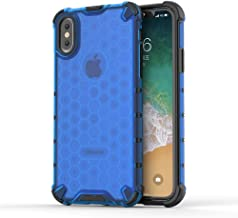 BIBERCAS Clear iPhone X Case,Ultra Thin Slim Transparent iPhone X Case,Honeycomb Anti Yellow Anti-Scratch Shock Absorption 360 Degree Full Body Protection Cover Case for iPhone X/XS-Blue