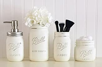 Mason Jar Bathroom Accessory Set - 4 Piece, White, Soap Pump, Vase, Vanity Organizer