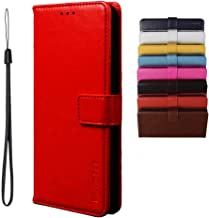 BRAND SET Case for Infinix Note 7 Lite/Infinix Hot 9 Case Wallet Style Faux Leather flip Case with Secure Magnetic Closure Lock and Bracket Function Suitable for Infinix Hot 9/Note 7 Lite(Red)
