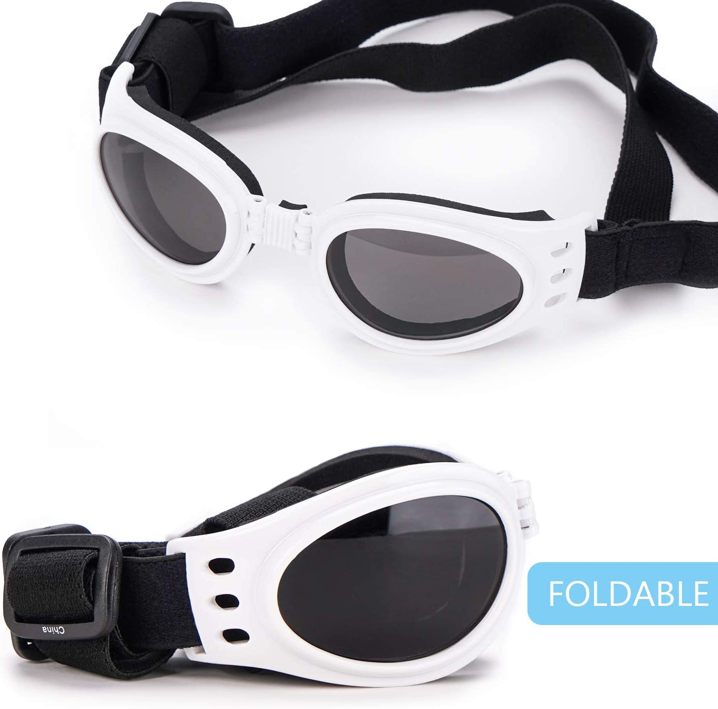 Anti-Fog /& Windproof Pet Goggles Sun Glasses Eye Glasses for Small Medium Large Dogs Puppies Cats Car Rides Eye Protection Dog UV Glasses with Chin Strap Adjustable Petarty Pet Sunglass with Strap