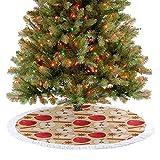 Homesonne Alfombrilla para árbol de Navidad con diseño de canela y estrella de anís en forma de receta navideña para decoración navideña, 77 cm