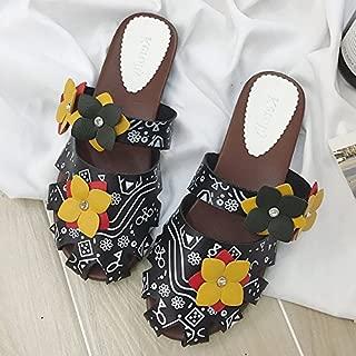 RED LIU Femmes /ét/é Plage Pantoufles Respirant /à la Main Grand Arc Lin Tongs Femme Casual Pantoufles de Lin Sandales Floral Indoor Chaussures