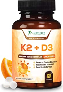 Vitamin K2 (MK7) with D3 Supplement - Highest Potency Vitamin D & K Complex, Chewable for Better Absorption, Made in USA, Best Support for Your Heart, Bones & Teeth, Non-GMO. 60 Veggie Tablets