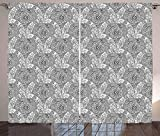 MLNHY Tribal Curtains, Greyscale Sketch Mandala Design with Boat and School of Fish in The Wind, Living Room Bedroom Window Drapes 2 Panel Set, Pale Grey White,110' W X 74' L