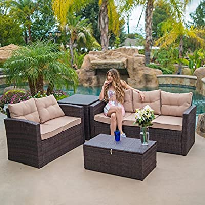 BELLEZE Outdoor 4PC Patio Wicker Sofa Set Sectional Deep Seating Seat Cushions w/Storage Ottomans, Brown