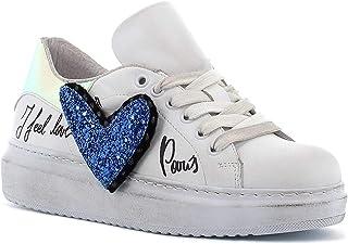 RICCIANERA Sneakers in Pelle con Lacci e Cuore, Made in Italy - Colore Bianco