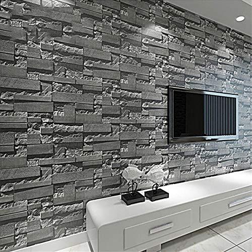 3D Rustic Brick Wallpaper 53cm x 1000cm Wallpaper grey brick Home Decoration living room pvc Vinyl wall paper Wall Panel Door Stickers Christmas Halloween Decorative @WP07101_Black_Grey