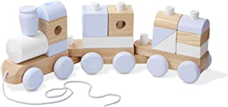 Melissa & Doug Wooden Jumbo Stacking Train (3-Color Toddler Toy, Decorative Piece, 17 Pieces, Great Gift for Girls and Boys - Best for 2, 3, and 4 Year Olds)