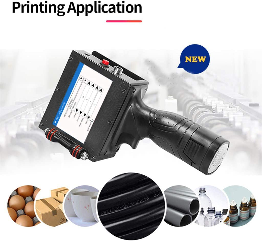 Ink Cartridge Small Intelligent Portable Hand Held Inkjet Printer with 4.3 Inch LED Screen Inkjet Coding Machine for Label,Logo,Date,Qr Code,Bar Code,Pictures on Any Surface