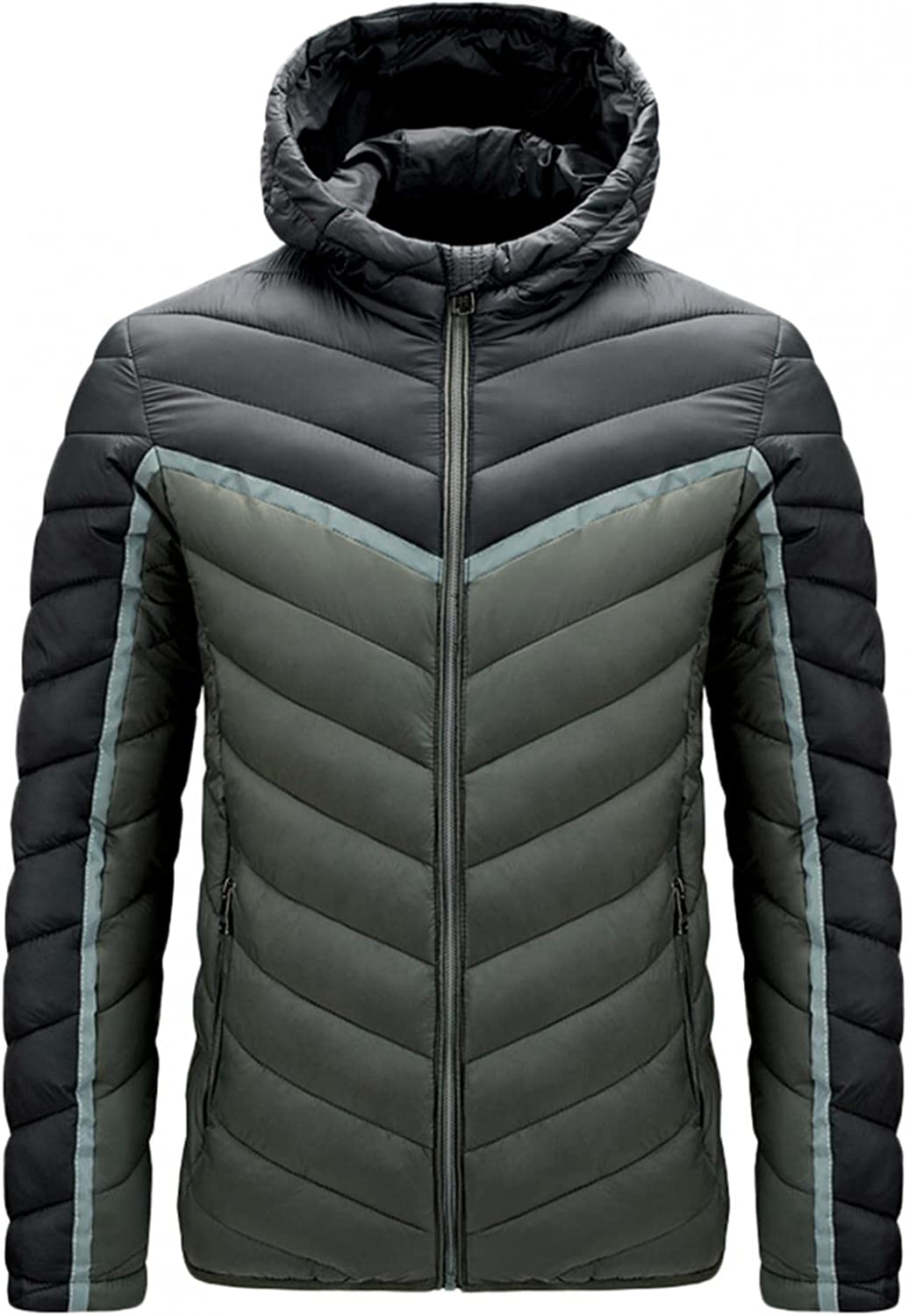 XUNFUN Men's Packable Down Jackets Plus Size Lightweight Insulated Color Block Hooded Winter Puffer Coat Water Resistant