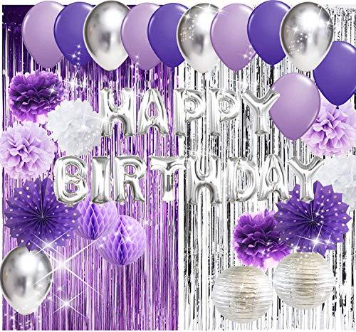 Purple Silver Birthday Party Decorations Happy Birthday Aluminium Ballons Latex Balloons Polka Dot Paper Fans for Women/Girl Purple Birthday Decorations Purple Silver Foil Curtains Photo Backdrop