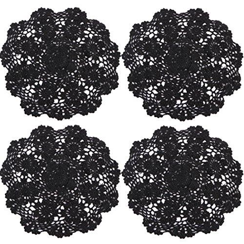 kilofly - Centrino da tavolo in cotone lavorato all'uncinetto, tovagliette a fantasia floreale, confezione da 4, Cotone, Black, 12 inch black