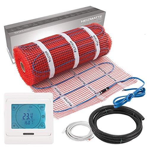 VILSTEIN© Elektrische Fußbodenheizung (9m² - 18m lang / 0,5m breit) Elektro Fußboden-Heizmatte 150W/m² für Fliesen-boden Fußboden-Heizsystem Elektrisch inkl. Thermostat TWIN Technologie Komplett-Set