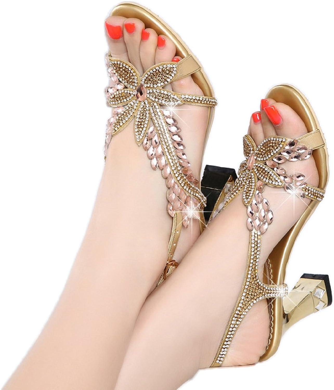 Frauen Sandalen BLock Heels Heels Strass Fashion Open Toe Schuhe Schnalle High Heels Schuhe  neue sadie