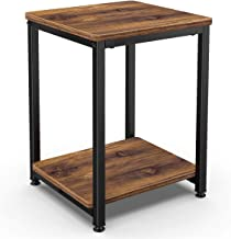 Homemaxs Nightstands Rustic End Table, 2-Tier End Table for Bedroom, Small Space and Living Room with Storge Shelf and Met...
