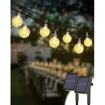 Kolpop Catena Luminosa Esterno [2 Pezzi], 30LED Luce Stringa solari Lucine Led Decorative di Crystal Globe Impermeabile IP65 Catena Luminosa per Natale, Giardino, Matrimonio, Festa (Bianco caldo)