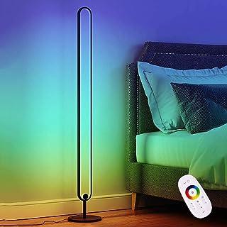 YUNJIE Lámpara de pie LED RGB minimalista, regulable, luz de pie, cambia de color, con control remoto, brillo ajustable para sala de estar, dormitorio, oficina, estudio, habitación de los niños