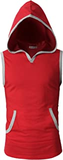 Men's Casual Hoodie Tank Tops Sleeveless Shirts Gym Workout with Pockets