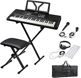 $171 Get ADM 61 Key Portable Electronic Keyboard Piano Beginner Kit with Stand, Padded Bench Stool, Microphone, Headphone, Keyboard Bag and Keyboard Sticker