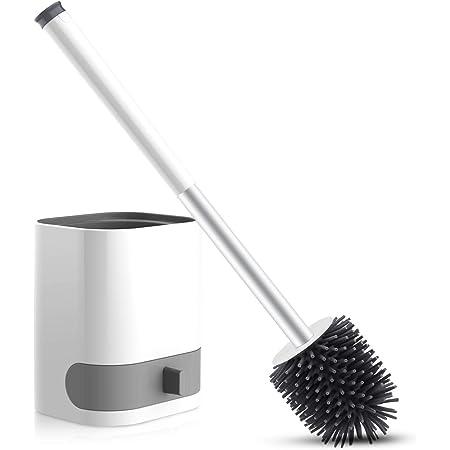 Cepillo y Soporte para Inodoro, WOWGO Escobillas de Inodoro de Silicona,Hangable Kit de Cepillo para Inodoro con Pinzas y Gancho Adhesivo