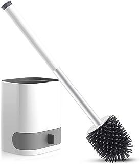 WOWGO Brosse WC suspendue avec poils en silicone Avec support amovible, pincette cachée, crochet adhésif pour salle de bai...