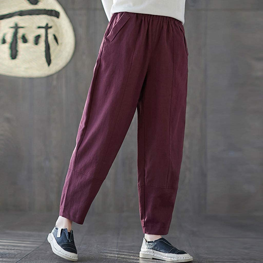 RTYou Women Elastic Waist Cotton Linen Pants Casual Crop Pull On Pants Relaxed Loose Fit Harem Trousers Solid Color Pocket
