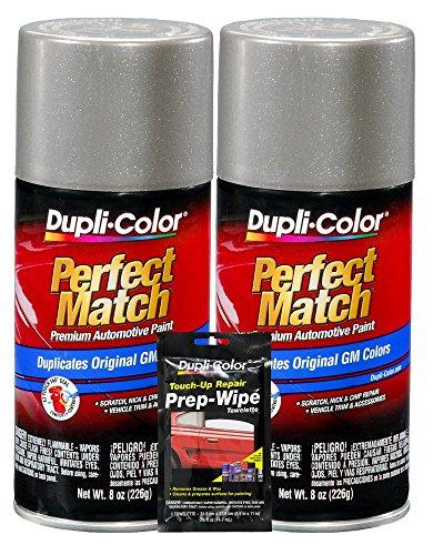 Dupli-Color Pewter Metallic Exact-Match Automotive Paint for GM Vehicles - 8 oz, Bundles with Prep Wipe (3 Items)