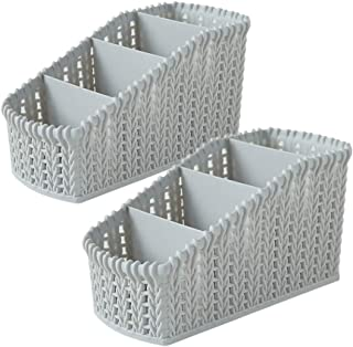 Desktop Storage Organizer, Adv-one 4 Compartments Desk Basket Caddy Remote Control/Pen Pencil/Cosmetic Holder Box for Office Supplies Countertop Home Kitchen Bathroom, 2 Pack (Light Grey)