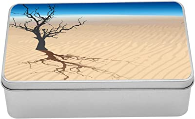 """Ambesonne Dune Metal Box, Graphic Design of a Dead Tree in The Middle of a Desert, Multi-Purpose Rectangular Tin Box Container with Lid, 7.2"""" X 4.7"""" X 2.2"""", Sand Brown Night Blue"""