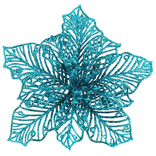 24 Pcs Christmas Teal Blue Glitter Mesh Holly Leaf Artificial Poinsettia Flowers Stems Tree Ornaments 6.6' W for Blue Christmas Tree Wreath Garland Gift Floral Winter Wedding Holiday Decoration