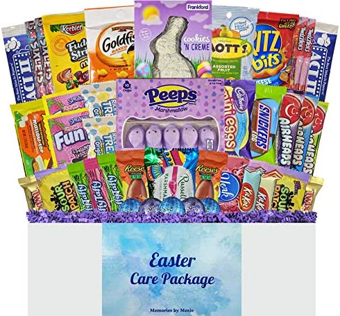 40 CT Easter Basket Care Package with Purple Grass for Teens Adults College Students Men Women product image