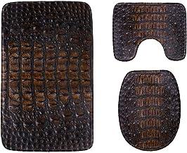 Fashion Printed Crocodile Skin Bathroom Rug Mats Set 3-Piece,Soft Shower Bath Rugs,Contour Mat and Toilet Seat Lid Cover N...