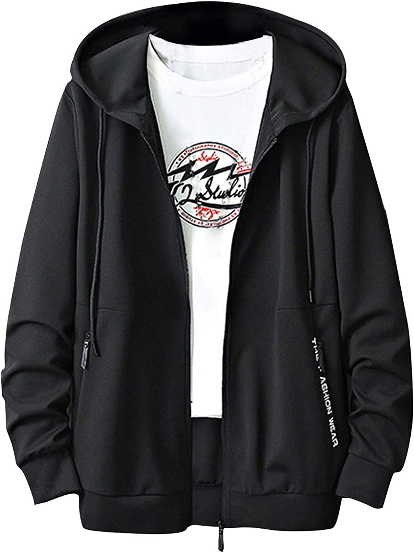 Men's Full zip Hoodie Long Sleeve Shirts with Hood Casual Lightweight Running Shirts Fleece Sweatshirt with Pocket