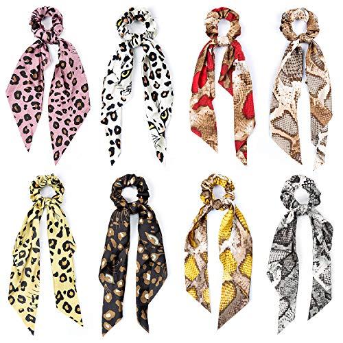 Pañuelos para el Pelo, Comius 8 Pcs Pañuelo para el cabello Scrunchies Bandas Elásticos Del Pelo Multi Patron Bufanda Cuello Accesorios Pelo Mujer Chica (D)
