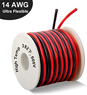 14 Gauge Silicone Wire Spool 40 Feet, Ultra Flexible High Temp 200 deg C 600V 14 AWG Stranded Wire with 400 Strands of Tinned Copper Wire, 20 ft Black and 20 ft Red Wire for Model Battery by MILAPEAK