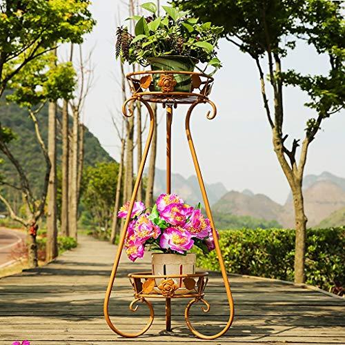 Balcon voyantes Étagère à fleurs multicouche en fer forgé intérieur salon pot rack balcon décoration plante cadre local or Plantes d'extérieur Présentoir (taille : 40 * 70cm)