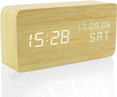 MUTANG Reloj de Madera Led Light Mini Cube Digitales Relojes despertadores analógicos Minimalistas con Fecha y