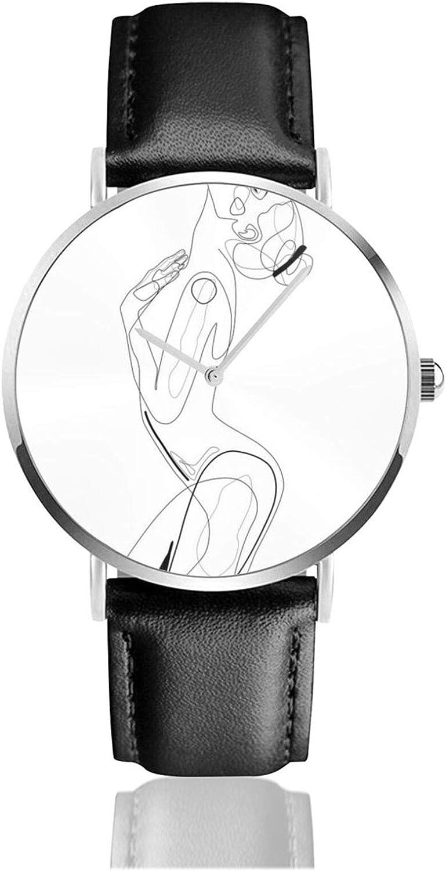 Desnudo perfil líneas reloj cuarzo movimiento impermeable correa de reloj de cuero para hombres mujeres simple negocios casual
