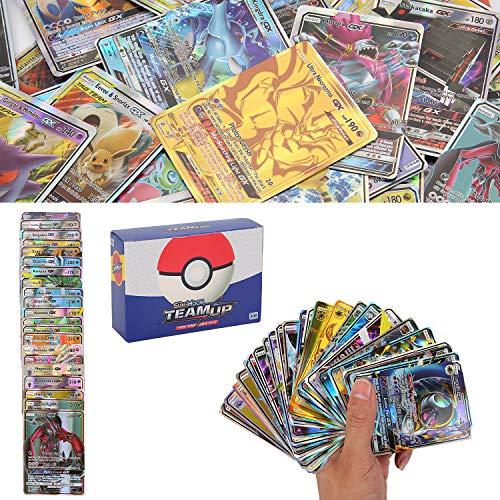 200 Piezas Cartas, Cartas GX Trainer, GX Trainer, Flash Cartas, Sun & Mood Series, Cartas Coleccionables (62Tag Team GX + 132GX + 6Trainer)