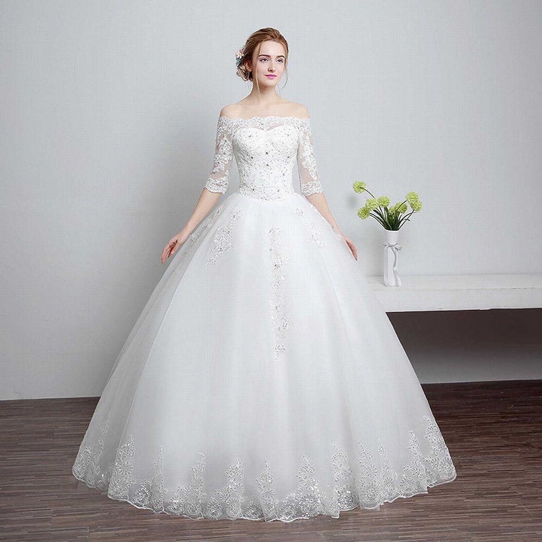 DIDIDD Bride Shoulder Wedding Dress Toast Dress Red