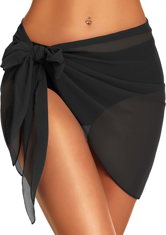 Swimsuit Cover Ups for Women Sarong Beach Wrap Sheer Short Skirt Bikini Chiffon Scarf for Swimwear