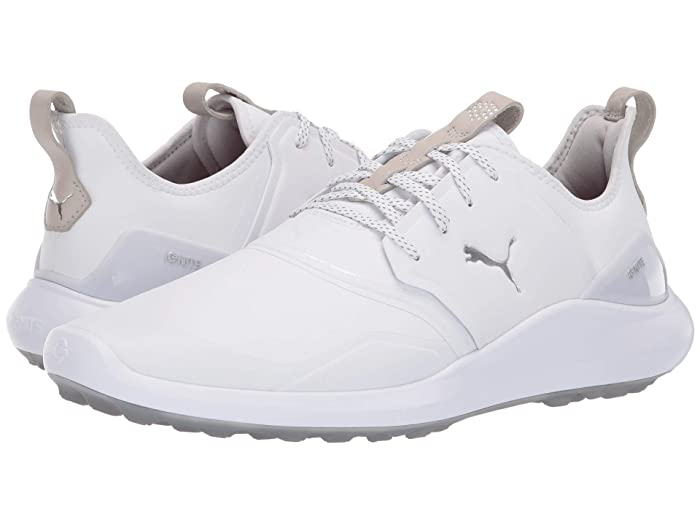 PUMA Golf  Ignite Nxt Pro (White/Silver/Gray Violet) Mens Golf Shoes